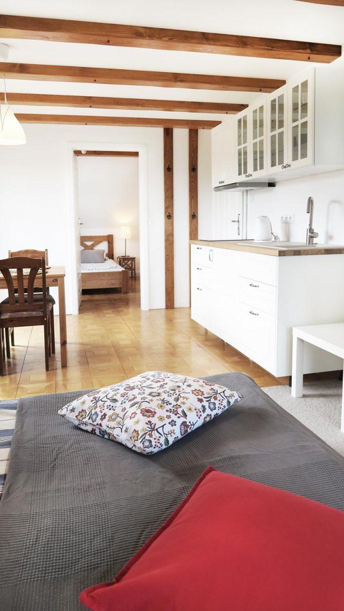 Pokoje nad Jeziorem Mazury | Studio nr 3 duży pokój z aneksem kuchennym. Dom nad Zatoką